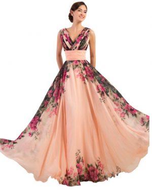 שמלת ערב עם פרחים