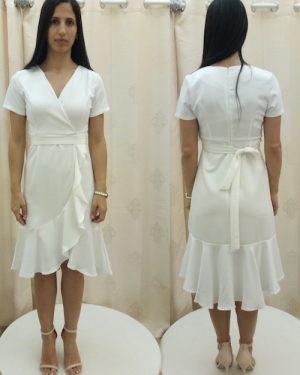 שמלה לבנה קצרה לחתונה ברבנות